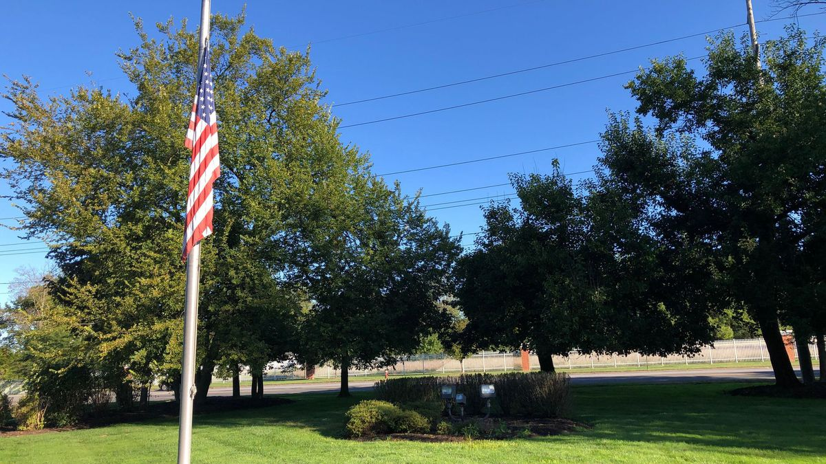 The flag outside WTVG is lowered following Ohio Gov. Mike DeWine's order to honor Justice Ruth Bader Ginsburg.