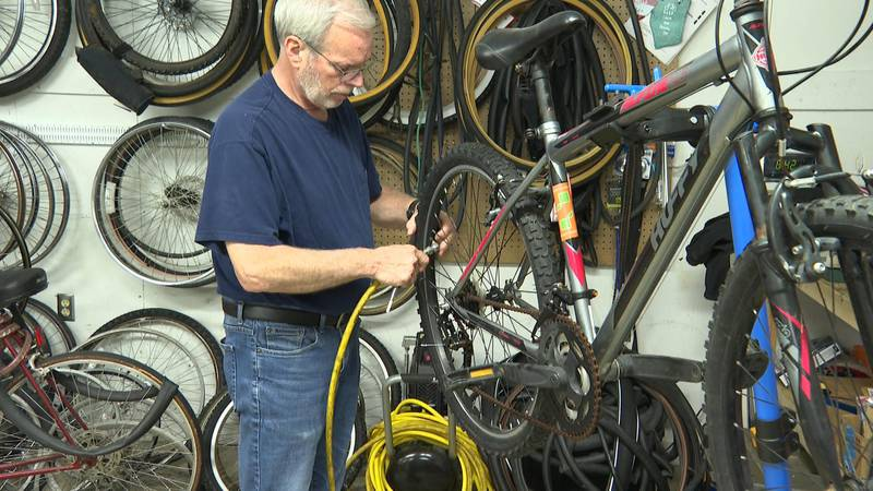 The mission's bike program helps residents get to their jobs, so they can get back on their feet.
