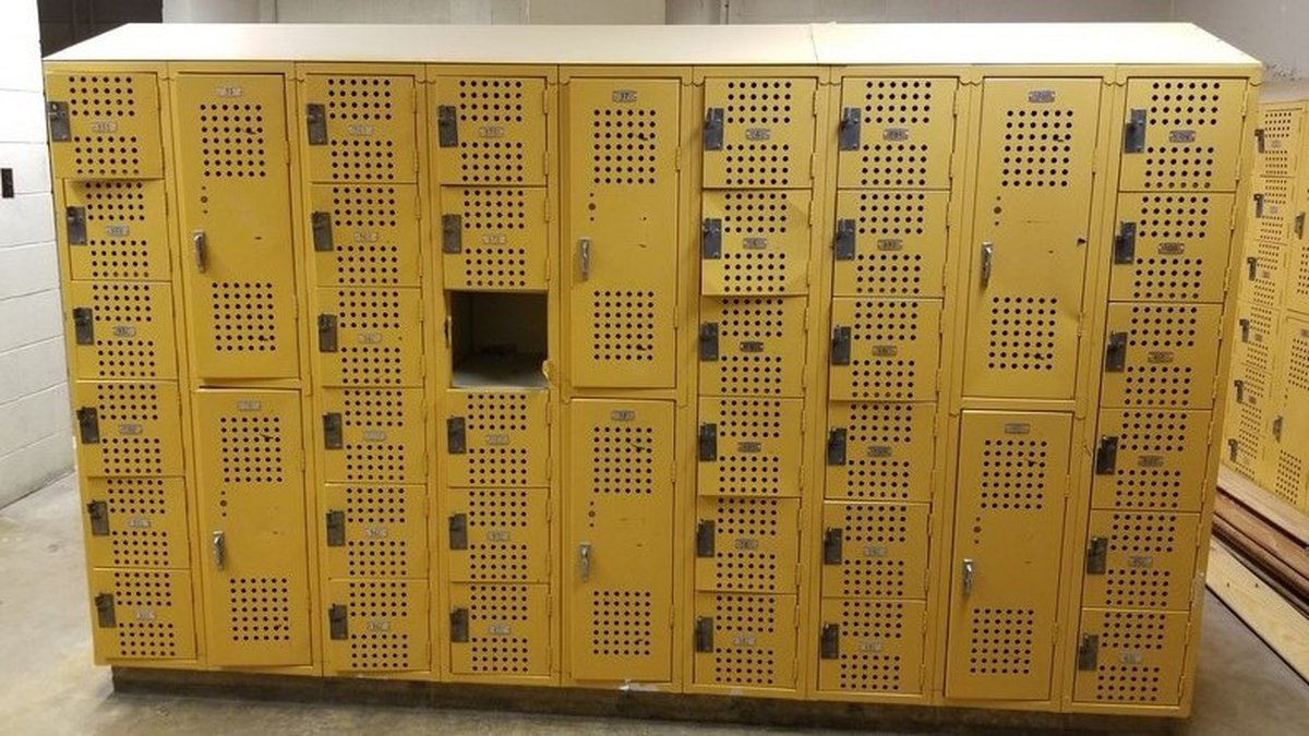 An example of a set of lockers up for auction by the Tecumseh School District on the...