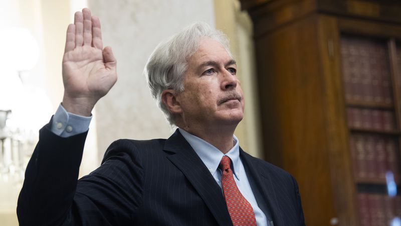 William Burns is sworn in before a Senate Intelligence Committee hearing on his nomination to...