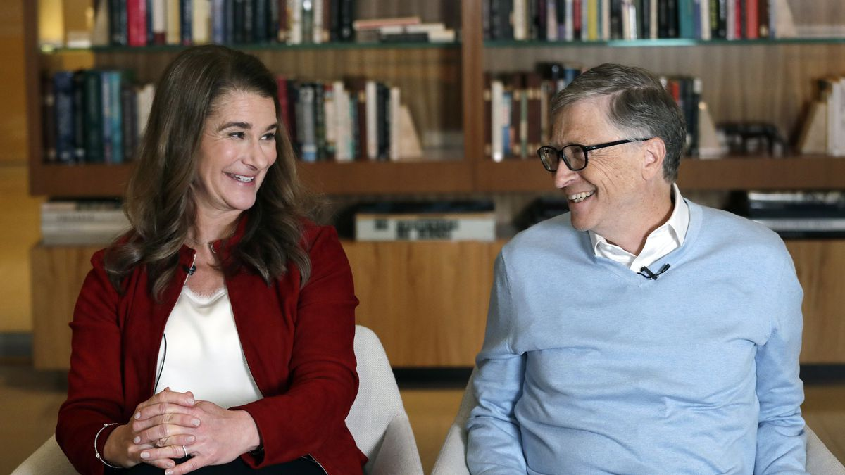 FILE - In this Feb. 1, 2019, file photo, Bill and Melinda Gates look toward each other and...