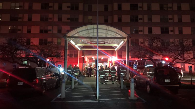 Crews battled a fire at a high-rise apartment building on N. Erie on Wednesday, Jan. 13.